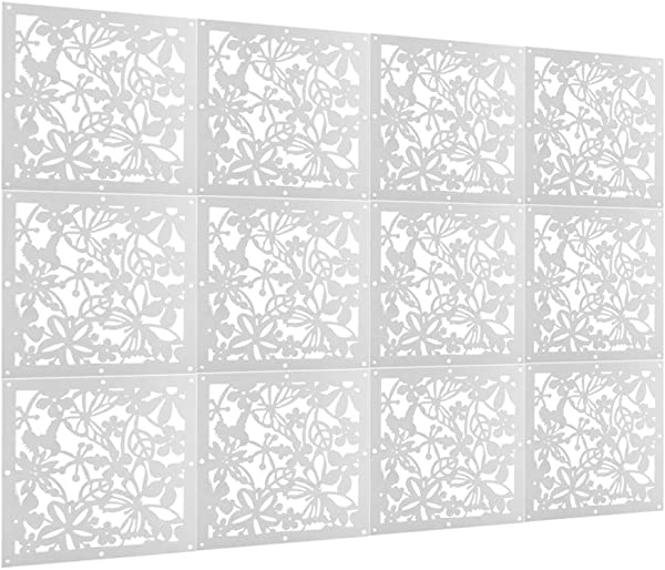 Cocoarm Hanging Room Divider 12pcs White Partitions Panel Screen Simple Carved Hanging Paravent For Decorating Bedroom Dining Hotel 15 74 X15 74 Butterflies