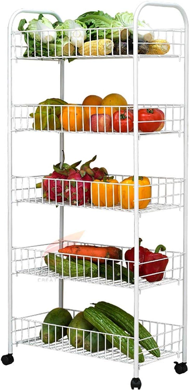 Vegetable Rack Kitchen Five-Layer Floor Multi-Layer Movable Fruit Dish Shelf Pot Rack Storage Shelf (Size   52  26  112cm)