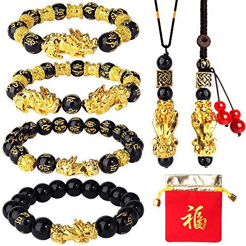 Sumfox 6Pcs Feng Shui Bracelets Black Obsidian Wealth...