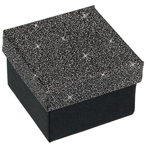 EYS JEWELRY Glitzer Schmuck-Etui für Ring 50 x 50 x 35 mm Kartonage grau Ring-Box Schachtel Schatulle Geschenk-Verpackung