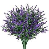 GREENRAIN 8 paquetes de flores artificiales de lavanda para decoración al aire última intervensión, resistente a los rayos UV, plástico sintético, plantas de jardín, porche, ventana, decoración...