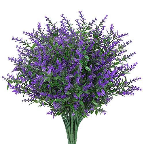 GREENRAIN 8 Bundles Artificial Lavender Flowers Outdoor Fake Flowers for Decoration UV Resistant No Fade Faux Plastic Plants Garden Porch Window Box Décor (Purple)