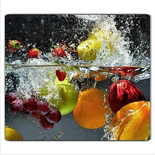decorwelt | Herdabdeckplatte 60x52 cm Ceranfeldabdeckung 1-Teilig Universal Elektroherd Induktion für Kochplatten Herdschutz Deko Schneidebrett Sicherheitsglas Spritzschutz Glas Früchte