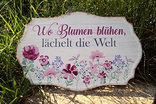 G.Handwerk Metall Schild 35x15cm - Wo Blumen blühen, lächelt die Welt - Pink/Creme