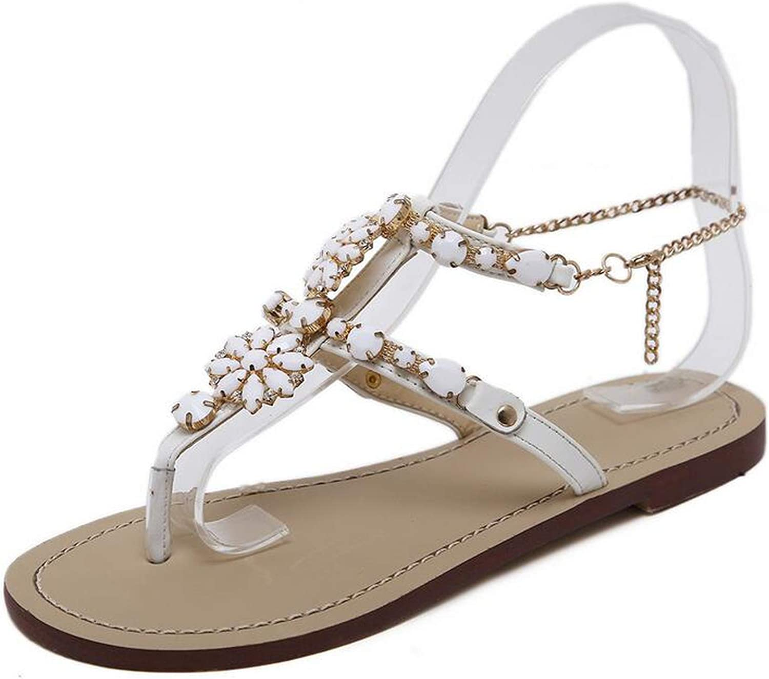 Shine-shine Anklet Chains Sandals Flat Bohemian Style Buckle Strap Crystal Big Size 45 46