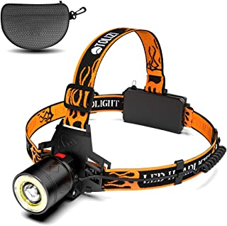 Led Headlamp, Tolizi Rechargeable Waterproof Headlamp With COB Board Flood Light, 18650 USB Zoomable Head Lamp For Outdoor Camping Hiking Hunting