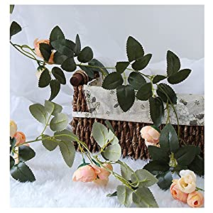 Silk Flower Arrangements LI HUA CAT Artificial Rose Vine Flowers Plants 10 Heads Silk Fake Rose Flowers 3pcs Lifelike Artificial Flower Home Hotel Office Wedding Party Garden Craft Art Decor (Champagne Camellia)
