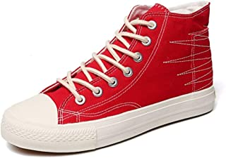 Shangruiqi Fashion Sneakers for Men Walking Shoes Lace Up Stretch Denim Fabric High Top Stitched Anti Slip Casual Chic Classic Cap Toe Anti-Wear (Color : Red, Size : 7 UK)