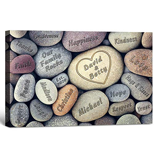 Our Family Rocks - Personalized artwork with family names on, canvas print, customized wall art, 2 sizes