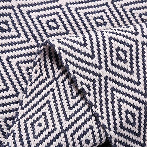 HEBE Extra Long Cotton Area Rug Runner 2'x6' Reversible Hand Woven Cotton Throw Rug Floor Mat Carpet Runner for Kitchen Bedroom Entryway Laundry Room