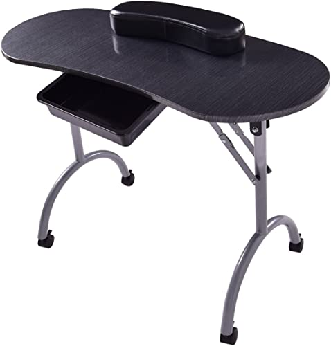 new arrival Giantex Portable & Foldable Manicure Nail Table Station, Nails Desk Spa Beauty Salon w/ Wheels, Comfortable Padded Wrist wholesale Pad, Carry Bag, Mini online sale Beginner Nail Art Equipment online