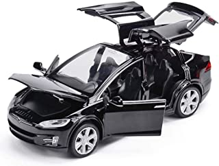 Metermall Simulate Alloy Pull back Car Kids Toy with Sound and Light Function 1:32 Scale Model X 90 black For Children