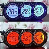 XUNQI Auto Mini Armaturenbrett in/outdoor Temperatur Thermometer Uhr Digitales LCD-Display mit Blau Orange Hintergrundbeleuchtung