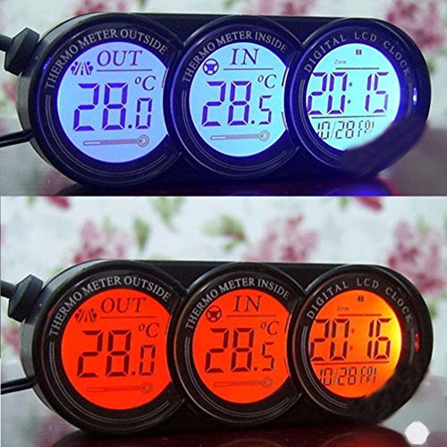 XUNQI Auto Mini Armaturenbrett in/outdoor Temperatur Thermometer Uhr Digitales LCD-Display mit Blau Orange Hintergrundbeleuchtung