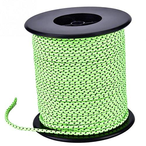 Qingsb 2,5 mm diameter 50m reflecterende string winddicht tent touw scheerlijn voor kampeertent camping touw reflecterende scheerlijnen voor tenten, groen