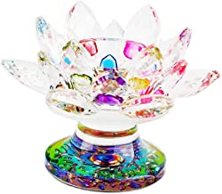 Blesiya Crystal Glass Lotus Candle Holder Candlestick Candelabra Lighthouse Holder Tealight Crafts Home Wedding Decor - Mu...