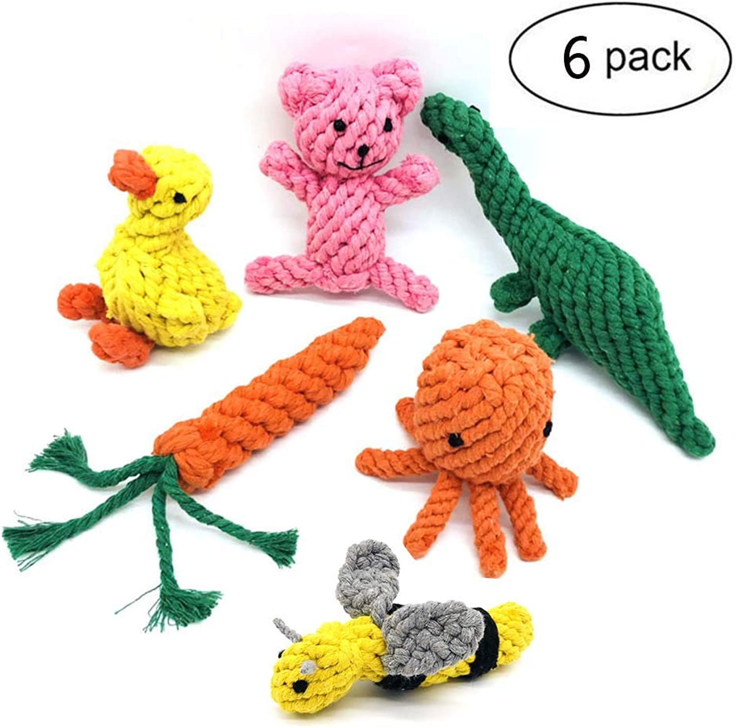 Pet Molarst Toy HandWoven Dog Chew Toy Cotton Rope Toy Bite Chewer Training Clean Teeth Interactive Bee Bear Octopus Dinosaur Duck Carred