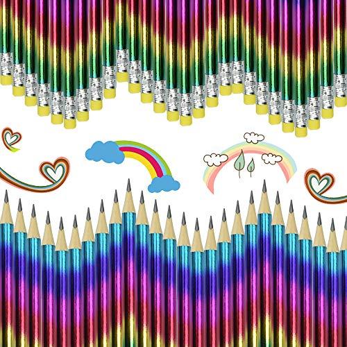 XAVSWRDE Regenbogenfarbstifte 48 Pcs Bunte Holzstifte HB Graphite Regenbogenstift mit Radiergummispitze zum Zeichnen Schreiben Profi Buntstifte für das Heimbüro Schulmaterial