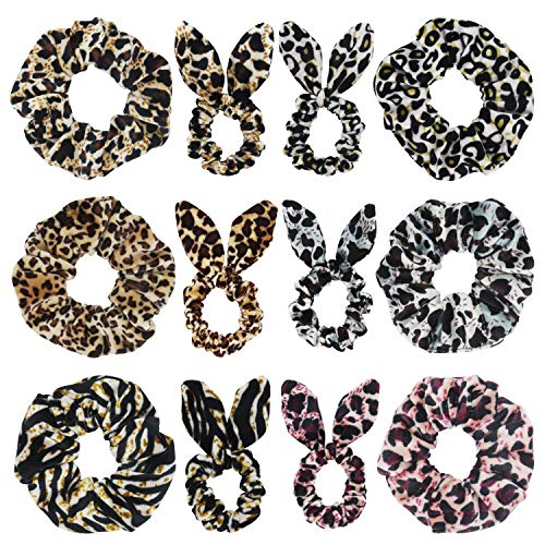 SUSULU Set of 12 Leopard Velvet Scrunchies Bunny Ear Bow Hair Ties Ponytail Holders Women Hair Accessories (Mix Styles)