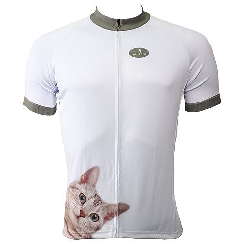 c4b7d8301 Paladin Cycling Jersey for Men Short Sleeve Cat Pattern White Bike Shirt