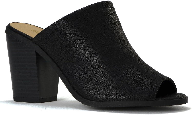 CITYCLOSFIED Woherrar Woherrar Woherrar City Klassificerad Open Toe Chunky Heel mocka Slide Sandals skor svart Stacked Heel 8.5  skydd efter försäljning
