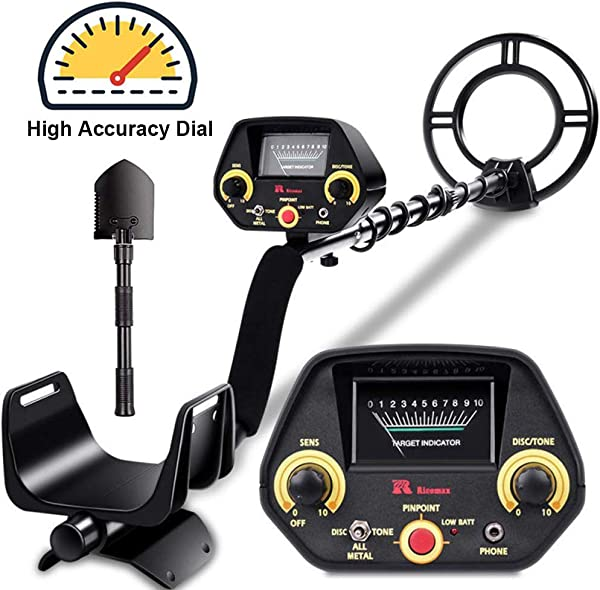 RM RICOMAX Metal Detector GC 1023 Gold Detector Disc Tone P P Modes Metal Detector For Adults Kids With View Meter Headphones Jack Metal Detector Waterproof With High Accuracy Easy To Use