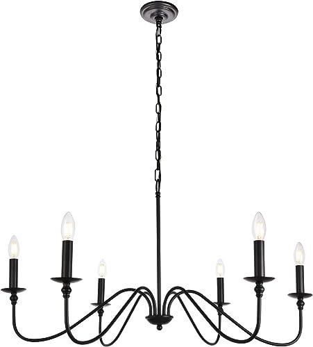 """popular Elegant Lighting Rohan online Collection 6 Light 2021 Chandelier in Matte Black Finish - 36""""D x 19""""H outlet online sale"""