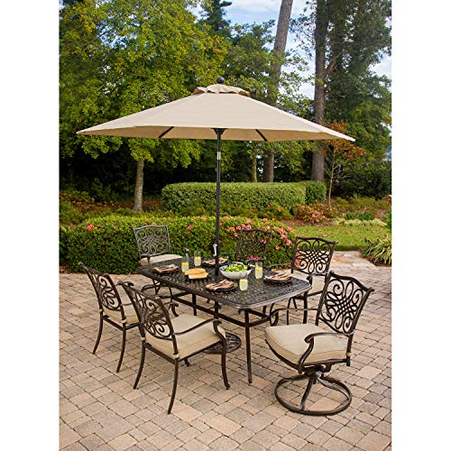 Hanover Outdoor Furniture Traditions 7 Pc. Outdoor Dining Set of Four Dining Chairs, Two Swivel Chairs, Dining Table, Umbrella, and Base