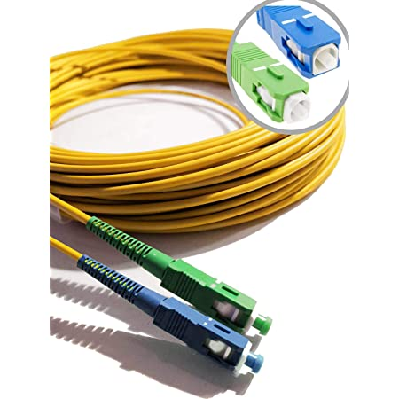 Elfcam® - Câble à Fibre Optique (jarretière Optique) Compatible SC/APC à SC/UPC Compatible Free Box (10M)