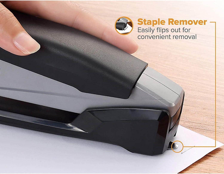 Rubber Handle Powered Desktop Stapler Gray