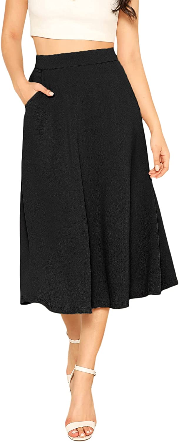 Milumia Women's Casual High Waist A Line Midi Skirt Solid Swing Skirt with Pocket