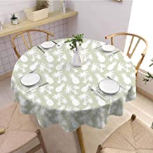 VICWOWONE Round Tablecloth Simple Pineapple Decor Decorated Restaurant Silhouettes Coconut Palm Trees and Pineapples Floral Repeating Background Stylized Art Diameter 63