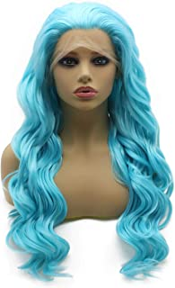 Iewig Synthetic Front Lace Halloween Wig Long Wavy Heat Friendly Half Hand Tied Sky Blue Wig