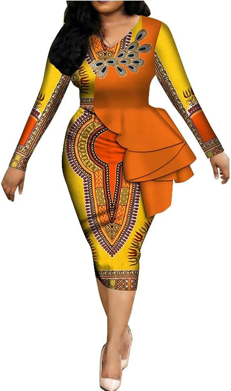 iooiooi Womens Long Sleeve African Dashiki Print Bodycon Dress Ruffle Details
