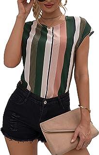 Jersey Informal De Primavera Y Verano para Mujer, Cuello Redondo, Estampado De Rayas Irregulares, Camiseta Holgada De Mang...
