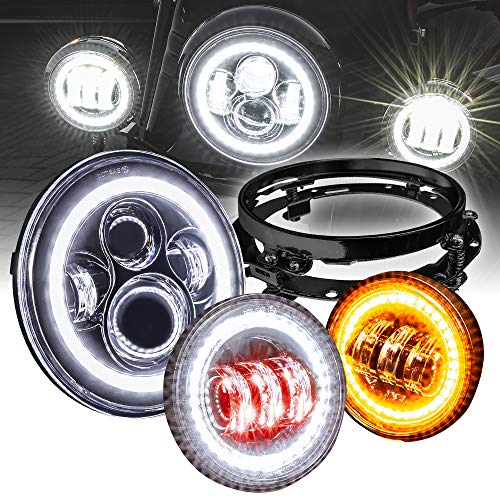 """7"""" CREE LED Harley Headlight + 4.5"""" Passing Light + Mounting Bracket [Black-Finish] [HALO DRL] [Plug and Play] Head Light for Harley Davidson Electra Glide Road King Softail"""