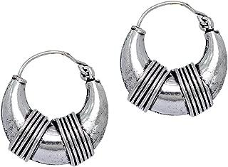 15.00 Grams Oxidised Plated Hoop Earrings Silver Jewellery Gift For Men