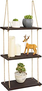 YXMYH Wood Hanging Shelf Wall Swing Storage Shelves Jute Rope Organizer Rack, 3 Tier