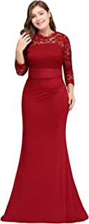 Misshow Evening Dresses Elegant for Wedding Long Wedding Dress Large Sizes Wine Red
