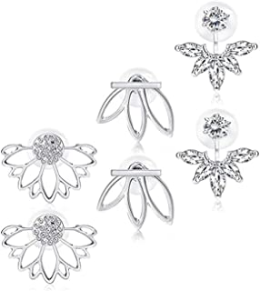 3c66ad468 Anqifull 2Pairs Fashion Hollow Lotus Flower Earrings Crystal Simple Chic  Evil Eye Eyelashes Stud Earrings Set