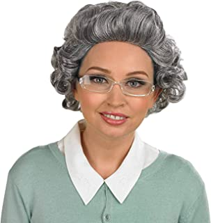 fun shack Adults Old Lady Wigs Grey Hair Granny Costume Accessory - Range of Styles