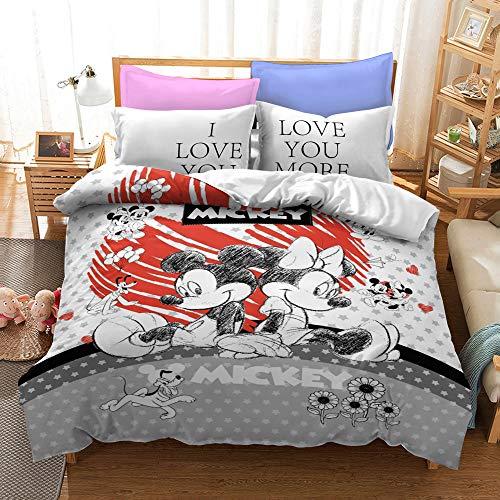 XWXBB Disney - Set di biancheria da letto di Topolino, in morbida microfibra a tre pezzi, copripiumino e federa, motivo 3D con cartoni animati (04,King 220 x 240 cm)