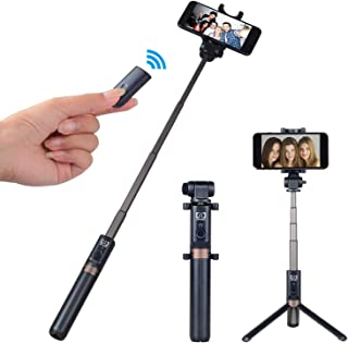 SHENXIAOMING Selfie Stick Extendable Bluetooth Selfie Stick Tripod with Detachable Wireless Remote and Tripod Stand for iPhone//Samsung//Huawei and More,Black