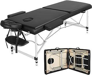 Yaheetech massage-ligstoel, aluminium massagetafel, inklapbaar, massagebed, massagestoel met 2 zones, in hoogte verstelbaa...