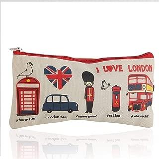 YWSCXMY-AU London Style Pencil Pencil Case Cosmetic Bag Storage Bag Wallet Zipper Coin Box (Color : Beige)