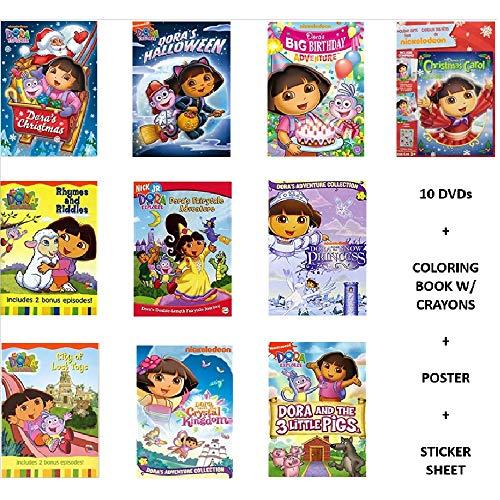 Ultimate Dora the Explorer 10-DVD Combo Pack Collection with Bonus Coloring Book, Poster & Sticker Sheet: Dora's Christmas / Dora's Halloween / Dora's Big Birthday Adventure / Rhymes & Riddles / Fairy