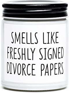 Funny Divorce Gifts for Women, Freshly Signed Divorce Papers Scented Candle, Unique Divorce, Break Up Gifts for Best Frien...