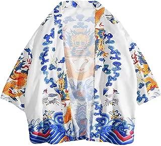 Zackate Unisex Kimino Printing Japanese Vintage Cardigan Retro Clothing Jacket with Pocket