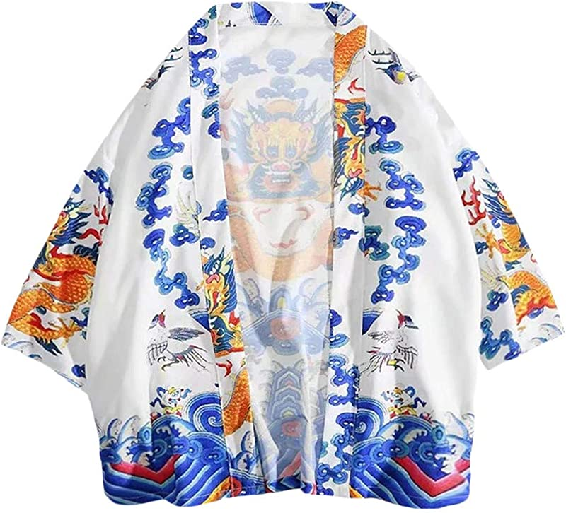 Zackate Unisex Kimino Printing Japanese Vintage Cardigan Retro Clothing Jacket With Pocket