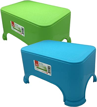 Set of 2 Green & Blue Click Home Design Step Stools 11.5 x 7.3 x 6.5 inches Bright & Beautiful Colors (2,  Green & Blue)